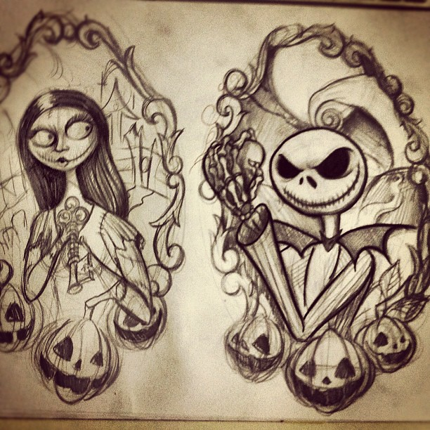 nightmare before christmas tattoo flash sheet progress t flickr. Black Bedroom Furniture Sets. Home Design Ideas