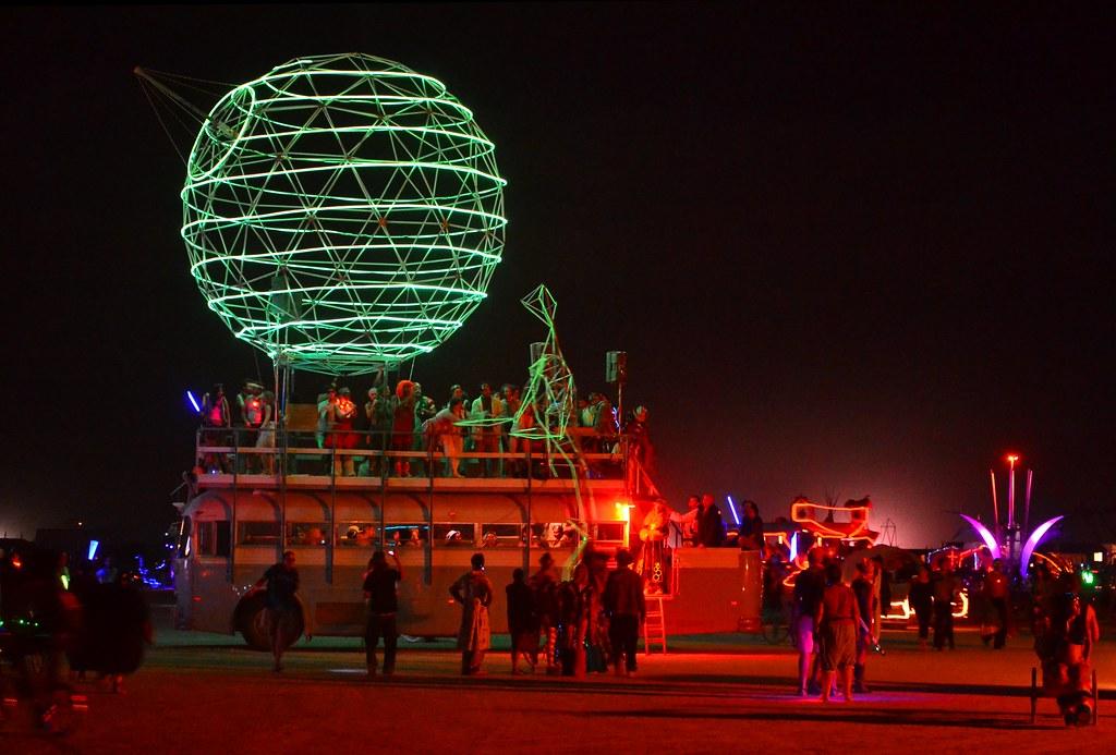 Burning Man 2012: 24 Foot EL Wire Man Visits Death Star Ar…   Flickr