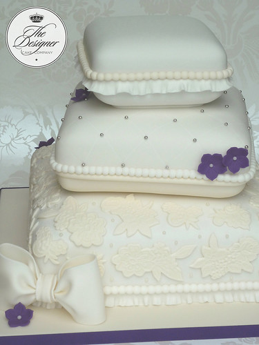 Stacked pillow wedding cake | by The Designer Cake Company