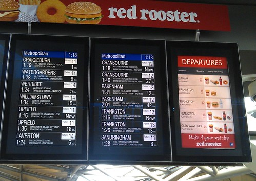 Red Rooster departure signs, Southern Cross station | by Daniel Bowen