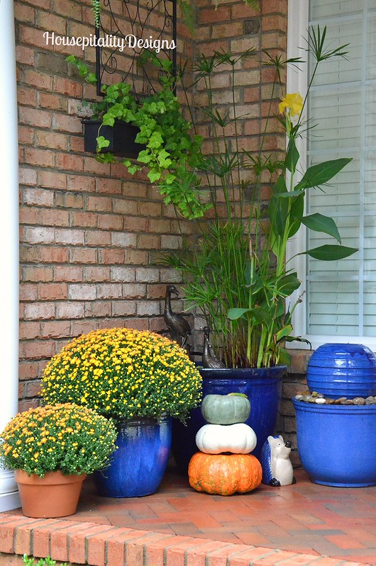 Fall Front Porch - Fall Mums - Pumpkin Topiary - Fountains - Housepitality Designs