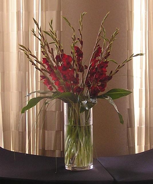 Burgandy gladiola centerpiece flickr photo sharing