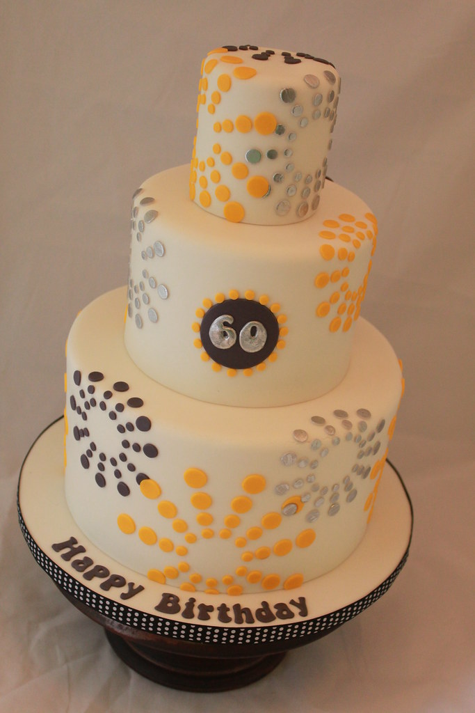 Yellow And Grey 60th Birthday Cake I Was Given A Picture