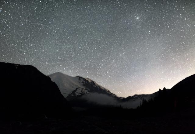 Mount Rainier and the Night Sky