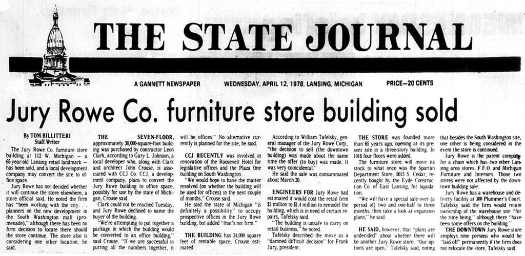 ... Jury Rowe Co. Furniture Store Building Sold 1978 04 12 Lansing