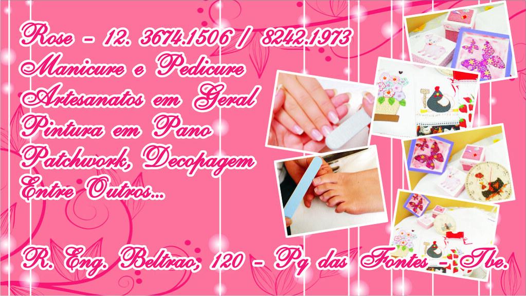 Cart 227 O De Visita Rose Manicure E Artesanatos Cart 227 O De