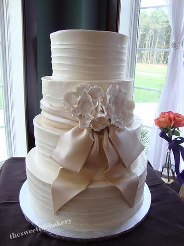Tier All White Buttercream Wedding Cake Textured