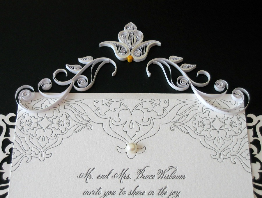 Quilled Wedding Invitation Top Detail Blogged Www