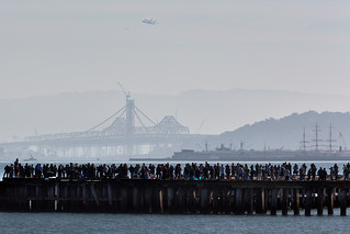 Endeavour Space Shuttle over the New San Francisco Bay Bridge, and Spectators | by AGrinberg
