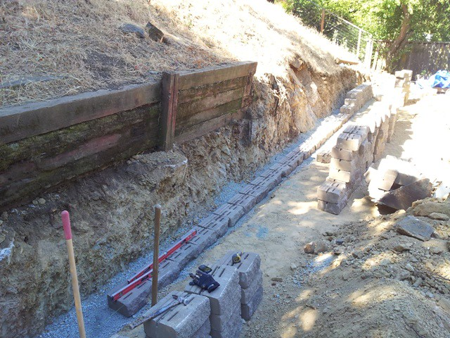 4 Retaining wall block footing All Access Construction