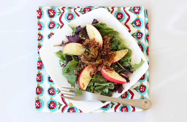Mixed Greens Salad with Apples, Caramelized Leeks and a Maple Dijon Dressing