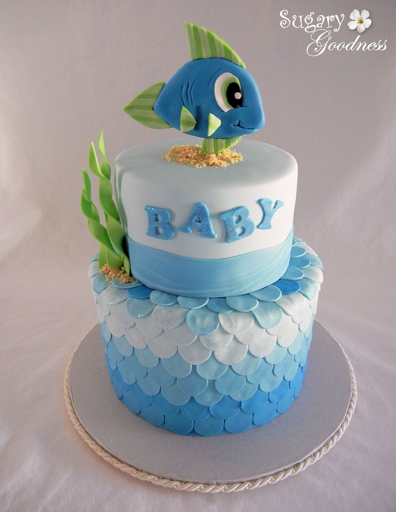 Fish Themed Baby Shower Baby Shower Cake For Grandbaby