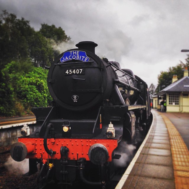 The Jacobite, pulled by 'Black Five' No 45407: 'The Lancashire Fusilier'  Glenfinnan Station, Scottish Highlands   #scottishhighlands #Glenfinnan #glenfinnanstation #scotland #railway #glenfinnanrailwaystation #steamtrain #steamlocomotive #thejacobitetrai