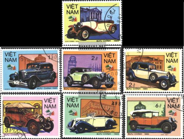 Známky Vietnam 1985 Automobily, razítkovaná séria