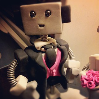 Work in progress: Fanciest robot groom I've made to date. Note the spiffy pink vest and tie | by HerArtSheLoves