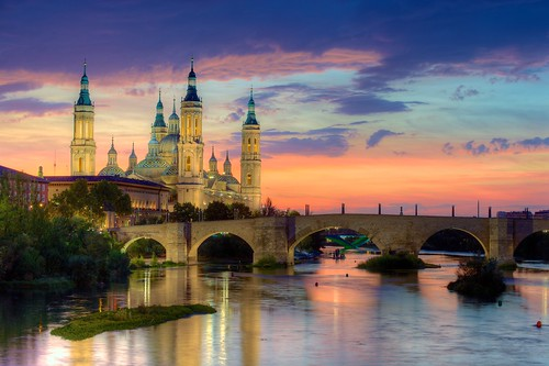 Basilica of Our Lady of the Pillar and the Ebro River, Zaragoza | by jiuguangw