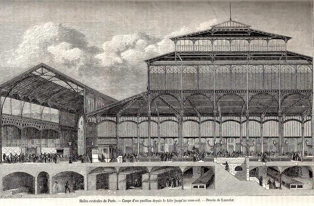 19th century 1862 le magasin pittoresque engraving halles centrales de paris - Les halles paris magasins ...