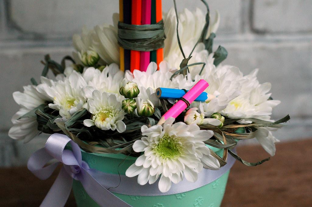 Цветочная композиция из живых цветов своими руками на день учителя 45