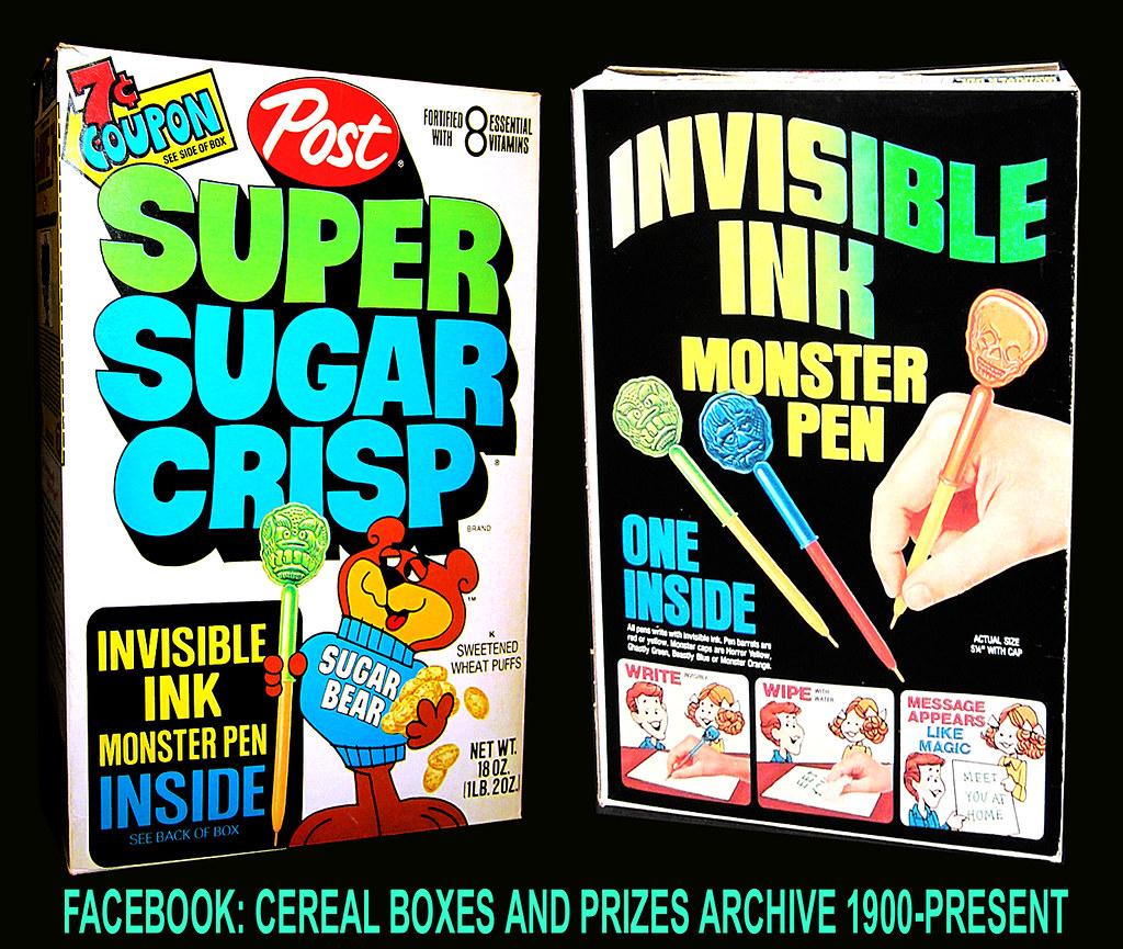 1977 SUPER SUGAR CRISP CEREAL BOX INVISIBLE INK MONSTER PE