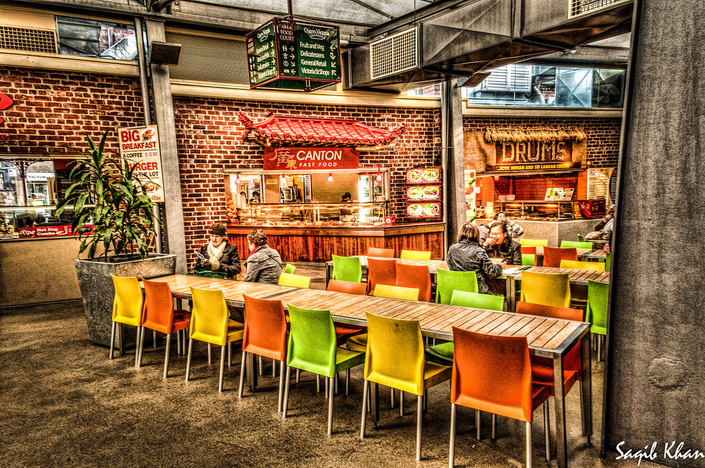 Food court queen victoria market melbourne australia for Australian cuisine melbourne
