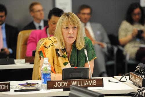 "Nobel Peace Laureate Jody Williams speaks at the high-level event ""Preventing Sexual Violence and Gender-based Crimes in Conflict and Securing Justice for Survivors"" 