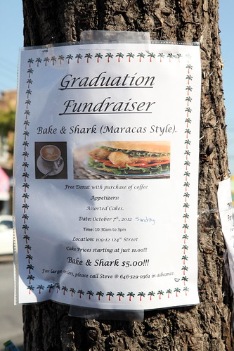 Flyer for a bake and shark fundraiser, Richmond Hill, Queens | by Eating In Translation