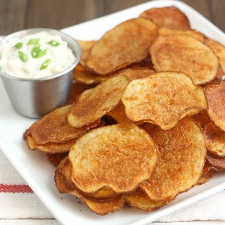 Homemade Baked Smoked Paprika Potato Chips with Triple Onion Dip | by Tracey's Culinary Adventures