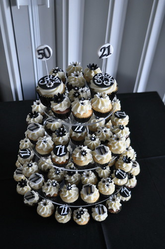 Black and white 50th and 21st cupcakes | by Cupcake Passion (Kate Jewell)