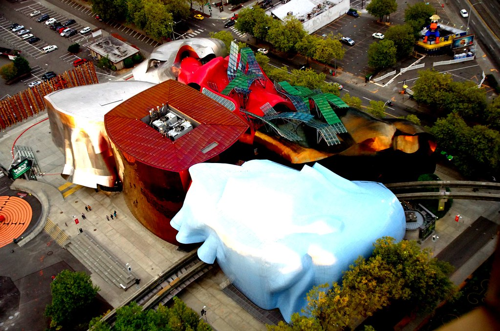 Aerial view of EMP Museum - Music + Sci-fi + Pop Culture