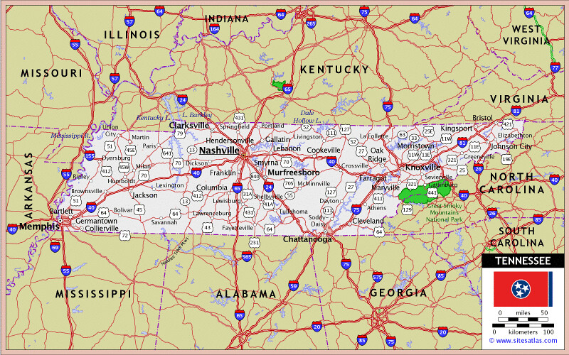 Tennessee  Major Cities And Highways Can Be Seen On This