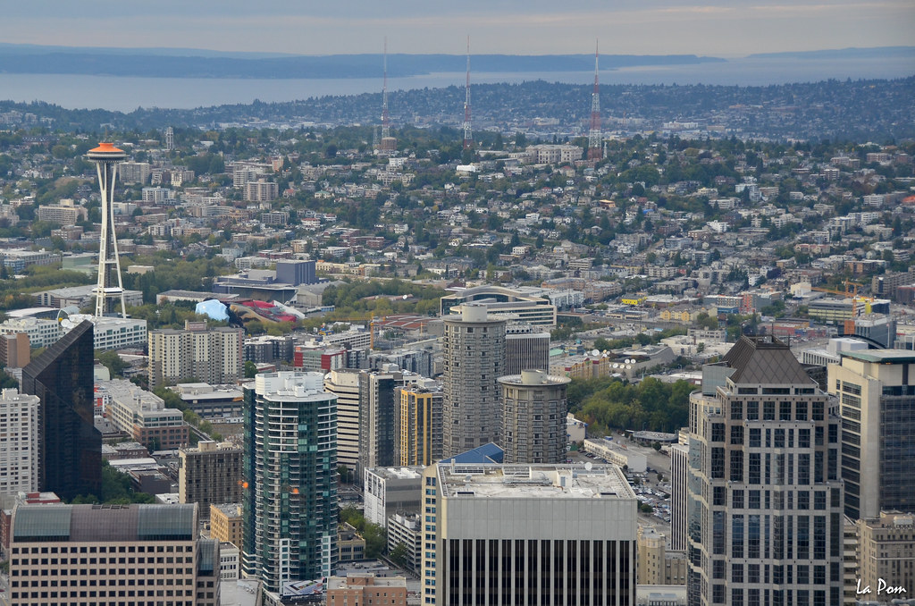 Seattle view seen from columbia tower at the 74th floor for Columbia flooring jobs