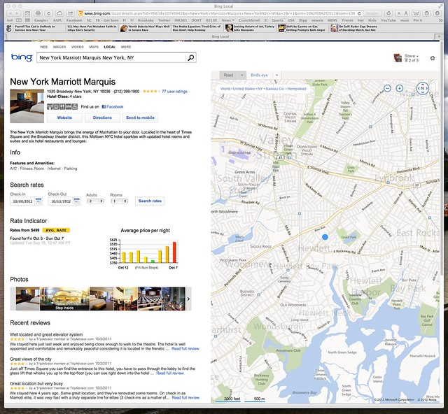 Bing Finance: Bing Maps Is Wrong Too: New York Marriott Marquis New York