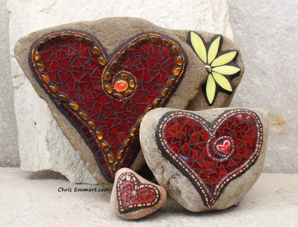 Red Mosaic Hearts Garden Stones Website Etsy