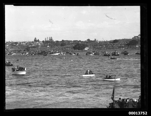 Coxed fours racing before a large crowd, Sydney | by Australian National Maritime Museum on The Commons
