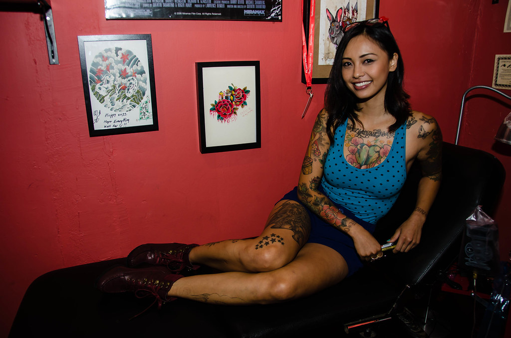 Levy tran usa tattoo model levy tran visits the fatboys for Tattoo model jobs