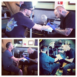"Barbershop ""team building"" with @fricke_tattoo @ SpeakEasy Tattoo.... 