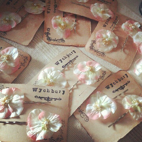 Lots of pretty Pink and Pistachio Violas off to California for a wedding. | by Wychbury Designs