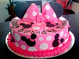 minnie mouse cake pan chocolate cake iced in pink butter icing decorated 5942