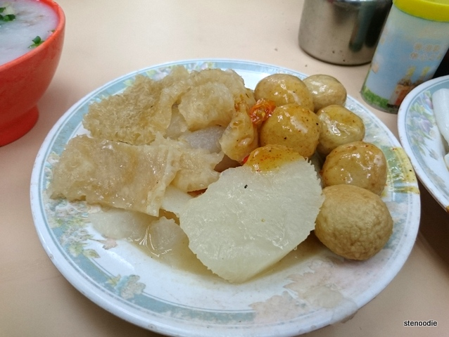Pork skin, turnip, fish balls