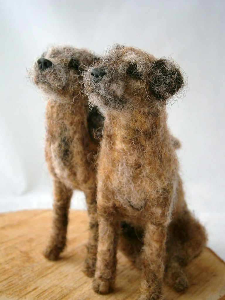 Needle Felted Border Terriers Recent Commission