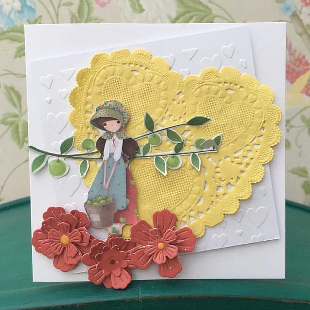Santoro Kori Kumi heart doily card girl with apples by StickerKitten #craftconsortium