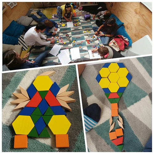 Exploring angles and fractions in geometry with pattern blocks.