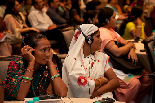 Two elected women representatives from Jhabua district in Madhya Pradesh listen to UN Women Executive Director Michelle Bachelet speak during the National Leadership Summit | by UN Women Gallery