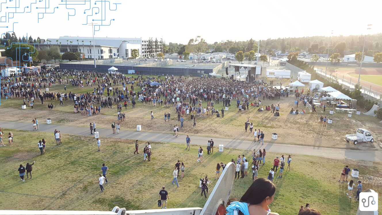 Vista da roda gigante para o Spring Concert, evento annual de música organizado pela Cal State Fullerton