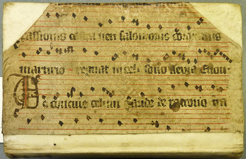 Portion of a parchment ms. leaf, probably from an antiphonary, containing text and music for Lauds from a Reimofficium (or rhythmical office) for the feast of St. Stanislaus | by Provenance Online Project