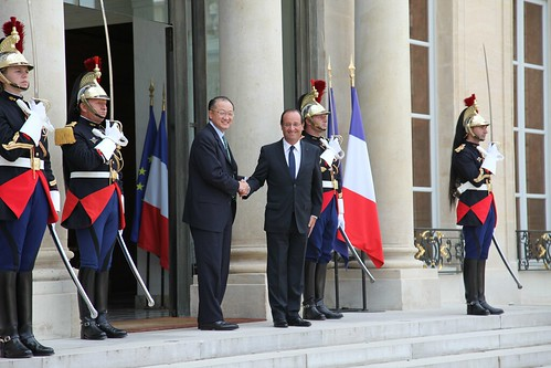 World Bank Group President Jim Yong Kim following a meeting with French President François Hollande | by World Bank Photo Collection