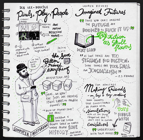 Seb Lee-Delisle: Pixels, Play, People & Lauren Beukes: Imagined Futures & Jason Scott: The Save Button Ruined Everything & Tom Armitage: Making Friends @ d.construct 2012 | by evalottchen