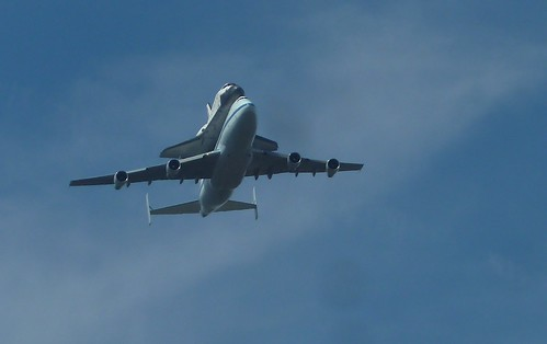 I got to witness history mid-day Friday September 21, 2012 in the the skies above the Griffith Observatory when I saw the space shuttle Endeavour being carried on the back of a NASA modified Boeing 747 jumbo jet on its way to LAX. | by jeff_soffer