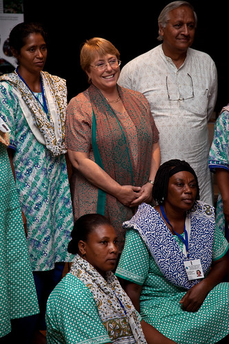 UN Women Executive Director Michelle Bachelet meets with women from Haiti who are attending a six-month training course in solar engineering at Barefoot College | by UN Women Gallery