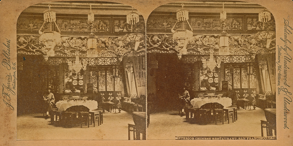 Chinese restaurant interior c 1900 as the caption for 1900 asian cuisine